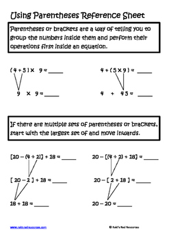 Using Parentheses Lesson for Interactive Math Notebooks