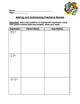 Using Pattern Blocks & Area Models to Add & Subtract Fractions