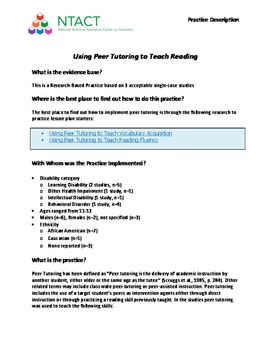 Using Peer Tutoring to Teach Reading