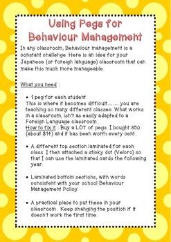 Using Pegs for Behaviour Management