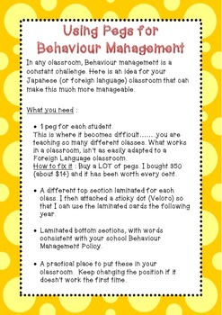 Using Pegs for Behaviour Management