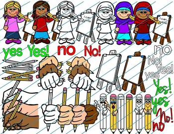 Using Pencils Safely and writing Clipart- How to use a pencil correctly clipart