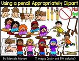 Writing Clipart- How to use a pencil safely and correctly clipart
