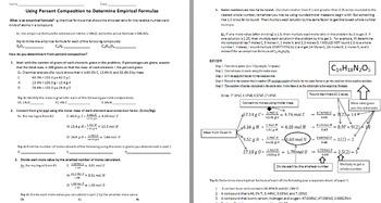 Using Percent Composition to Determine Empirical Formulas worksheet