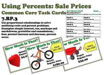 Using Percent for Sale Prices Beginner Common Core Task Cards 7.RP.3