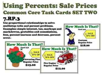 Using Percent for Sale Prices Intermediate Common Core Task Cards 7.RP.3