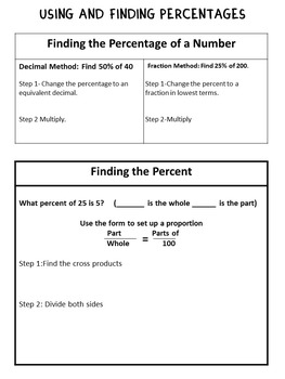 Calculating Percentages: Graphic Organizer-Foldable and Task Cards