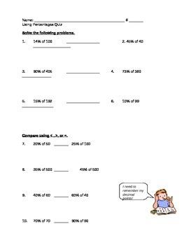 Using Percents Math Quiz