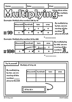 Place Value Multiplying Dividing by 10 100 Math Color Doodle Review