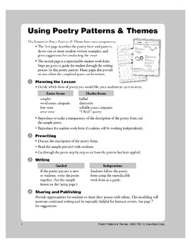 Using Poetry Patterns and Themes