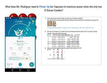 Using Pokemon Go to demonstrate division and multiplication