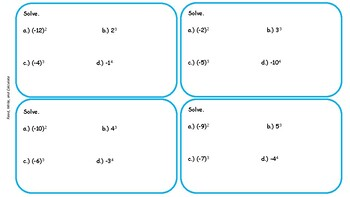 Using Powers & Exponents w/ Positive & Negative Bases: Task Cards