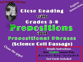 Using Prepositions and Prepositional Phrases to Understand Cells