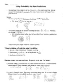 Using Probability to Make Predictions - notes and practice