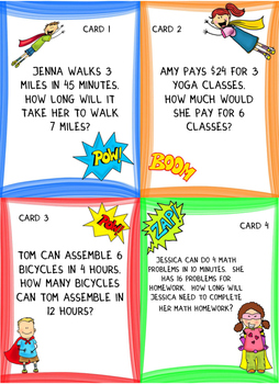 Using Proportions: Graphic Organizer Foldable and Task Cards