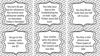 Using Proportions & Rates: Teens' Money Card Game with Income/Expense Ledger