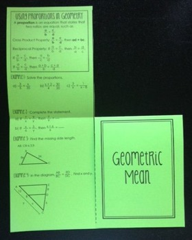 Using Proportions in Geometry & Geometric Mean (Geometry Foldable)