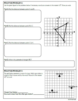 Using Pythagorean Theorem for Distance between 2 Points NOTES & PRACTICE