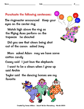 Using Quotation Marks - Circus Theme Handout 1