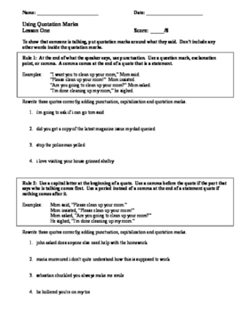 Using Quotation Marks: Step-by-Step Mini-Unit