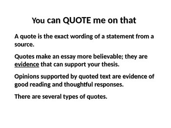 Using Quotations PPT