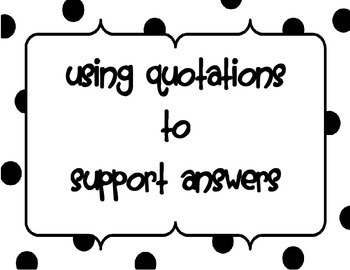 Using Quotations to Support Answers