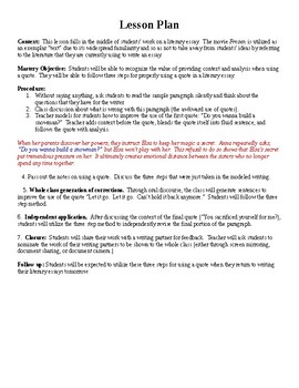 Using Quotes In A Literary Essay By Thats Lit  Tpt Using Quotes In A Literary Essay
