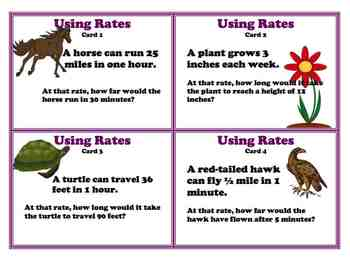 Using Rates Common Core 6 Ratio Proportion Task Cards Set TWO 6.RP.3