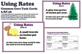 Using Rates Common Core 6 Task Cards Proportion Ratio 6.RP.3