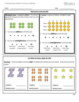 Using Repeated Addition & Arrays to Multiply pgs. 8 - 10 (CCSS)