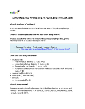 Using Response Prompting to Teach Employment Skills