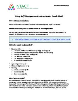 Using Self-Management Instruction to Teach Math