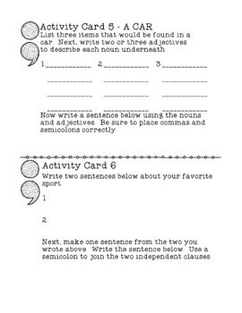 Using Semi-Colons Correctly Writing Practice Punctuation Writing Activity Cards
