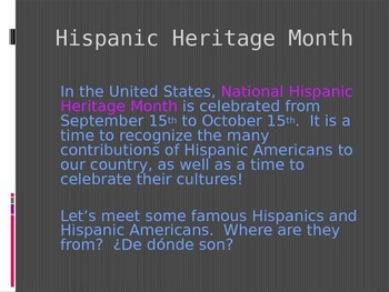 Using Ser with Nationality and Origin- tie in with Hispanic Heritage Month!