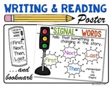 """Reading & Writing  """"Signal Words"""" Poster & Bookmark: Kindergarten and First"""