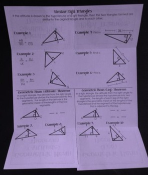Using Similar Right Triangles (Geometry Foldable)