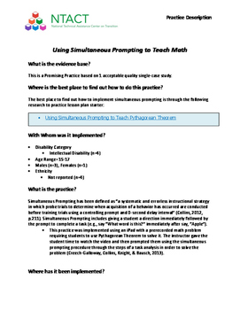Using Simultaneous Prompting to Teach Math