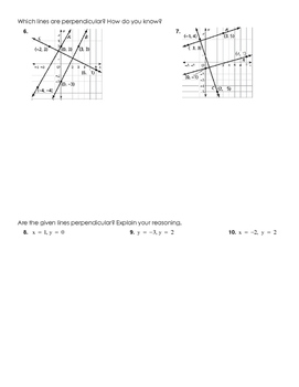 Using Slope to Identify Parallel & Perpendicular Lines Practice Worksheet