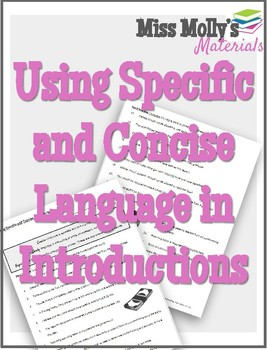Using Specific and Concise Language in Introductions - No Red Ink Aligned