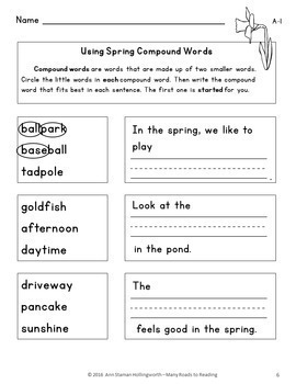 Using Spring Compound Words: Grades 1-2