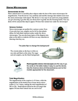 Using Stereo Microscopes at Science Centers