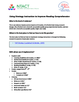 Using Strategy Instruction to Improve Reading Comprehension