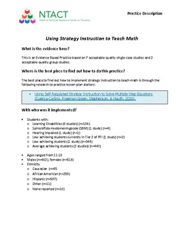 Using Strategy Instruction to Teach Math