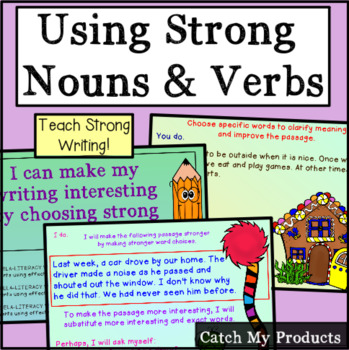 Writing Process -Strong Nouns, Verbs, & Thoughts in Writing for Promethean Board