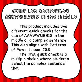 Using Subordinating Conjunctions in the Middle of a Sentence - Quick Checks