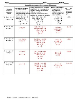 Using Substitution to Solve a System of Equations Worksheet