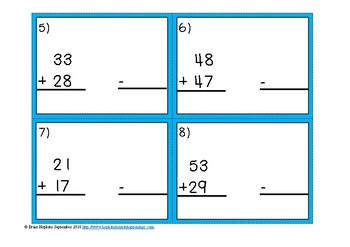Using Subtraction to Check Addition 2 Digit Regrouping Task Cards