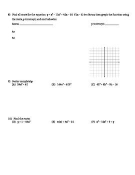 Using Synthetic Division to Graph Polynomials - Assignment
