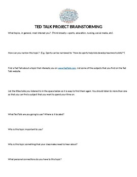 Using TED Talks in the Classroom--Secondary Project