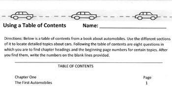 Using Table of Contents Study/ Research Reading Skill w/ Car Theme + 8 Questions